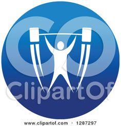 Klipart z Round modrými škvrnami Ikona beloch športovca kulturista zdvíhanie Činka - Royalty Free vektorové ilustrácie od Seamartini Graphics