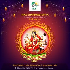 The third aspect of Goddess is half-moon shaped like a bell. Chandraghanta also known as wishes a blissful to all of you. Solar Panel Companies, Solar Panel Manufacturers, Vaishno Devi, Navratri Festival, Solar Street Light, Happy Navratri, Best Solar Panels, Moon Shapes, Durga