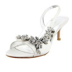 Satin Upper Mid Heel Strappy Sandals Wedding Bridal Shoes (More Colors)  – NOK kr. 397