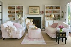 Pink/white LR-Shabby Chicks. . .happy little things: for mom......a shabby chic dream cottage and soft, cuddly puppies......