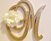 Gold Dazzling Sparkle Monogram Cake Topper with by LeandraNDesigns