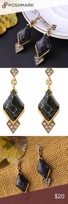 Coming soon !! Black Marble Fashion Earrings !! Jewelry Earrings