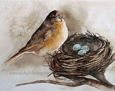 shabby chic home decor wall hanging painting of bird painting bird art print…