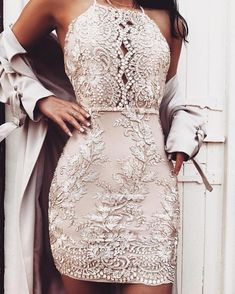 Sexy Spaghetti Strap Embroided Backless Cocktail Bodycon Dress, A-Line Spaghetti Straps V-Neck Dusty Pink Homecoming Dresses,Party dresses Hoco Dresses, Pretty Dresses, Sexy Dresses, Beautiful Dresses, Elegant Dresses, Dress Prom, Summer Dresses, Mini Dresses, Awesome Dresses