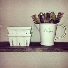 whimsy girl www.whimsygirldesign.blogspot.com kitchen shelf, breakfast nook, vintage silverware, white pitcher, berry baskets