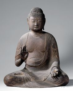 The Buddha Amida. Anonymous, c.1125 - c.1175. Japan. Rijksmuseum, Amsterdam.    Wood, with traces of lacquer. 87cm high.
