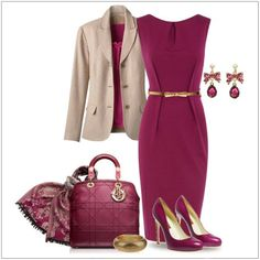 CHATA'S DAILY TIP: Fuchsia is a wonderful colour for cold winter days. Pair with gold accessories; gold works best with warm colours, silver works best with cool colours. The neutral jacket brings a welcome contrast to the outfit. The scarf picks up all the colours and can be worn around your neck or tied to your handbag for some pizazz. COPY CREDIT: Chata Romano Image Consultant, Dotti von Ulmenstein http://chataromano.com/consultant/dotti-von-ulmenstein/ IMAGE CREDIT: Pinterest