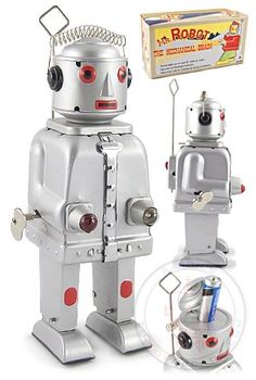 ✝☮✿★ ROBOT ✝☯★☮  Mr Robot The Mechanical Brain : Silver Edition : 1950 : Collectors Vintage Robot