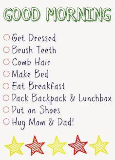 Good Morning Printable Checklist. Click here for the Free Printable Daily Checklists morning checklist, free morning checklist, morning checklist printable, easy mornings, morning routines
