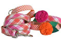 Orange And Pink Plaid Dog Leash