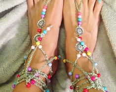 Items similar to Thalia - The Goddess of Festivity Barefoot Sandals Boho gypsy hippie style Beach shoes anklet feet jewelry on Etsy Casting Off Knitting, Bohostyle, Flipflops, Beach Shoes, Bare Foot Sandals, Thalia, Boho Gypsy, Hippie Style, Anklet