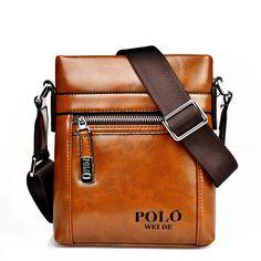 GENUINE LEATHER cowhide Shoulder leisure men's bag business messenger portable casual briefcase POLO bag sacoche homme 217 alishoppbrasil