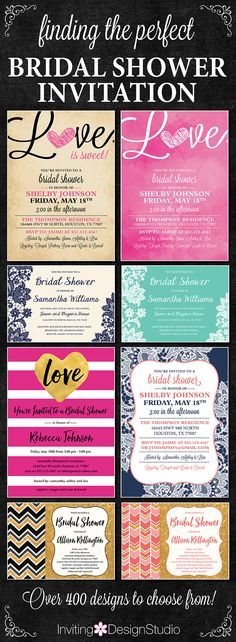 Find that perfect bridal shower invitation to fit themes ranging from classic to modern, rustic to chic, simple to elegant. Every design comes in many color options and we can customize to fit your needs. Coordinating items like recipe cards and thank you cards also available. Find them at www.etsy.com/shop/InvitingDesignStudio   COUPON CODE to receive 30% discount! Code: PIN30