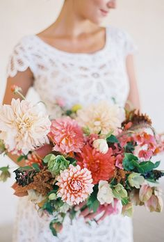 Bridal bouquet fall, wedding bouquets, wedding flowers, with love, homemade wedding favors Dahlia Wedding Bouquets, Dahlia Bouquet, Bridal Bouquet Fall, Bridal Flowers, Bridal Bouquets, Peach Bouquet, Fall Bouquets, Wedding Dresses, Fall Wedding Colors