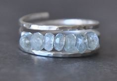 SIMPLY AQUAMARINE sterling silver wire wrap ring by muyinmolly
