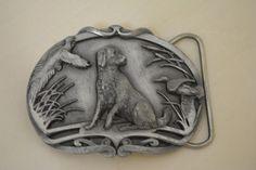 Men's Belt Buckle Pewter Model M-42 Golden Retriever Duck & Bird Hunting Dog #Novelty