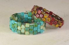 Memory Wire bracelet made with 2-hole CzechMate tile beads