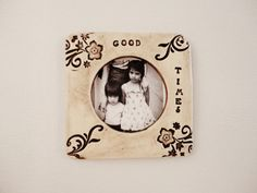 Handmade Ceramic photo frame, Fridge magnet or hang, Classic, Victorian style, rustic, Square, Shabby Chic