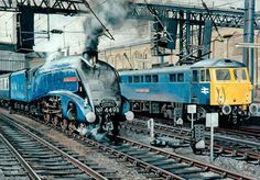 Locomotive No. 4498 'Sir Nigel Gresley' and Class 87 Electric Locomotive No. 87034 'William Shakespeare' at Carlisle Station Train Posters, Railway Posters, Electric Locomotive, Steam Locomotive, Steam Trains Uk, Uk Rail, Foto Top, Nostalgic Art, National Railway Museum