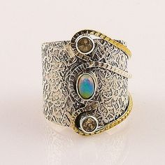 Citrine & Ethiopian Opal Two Tone Sterling Silver Ring – Keja Designs Jewelry