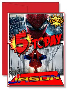 Personalized Birthday Greeting Card Spiderman Spider Man #birthdaycard #greetingcard #gift #birthday #gifts #cards #kids #toddler #personalizedgifts Personalized Greeting Cards, Personalized Gifts, Birthday Greeting Cards, Birthday Greetings, Family Vacation Shirts, Spiderman Spider, Red Envelope, Sofia The First, 5th Birthday
