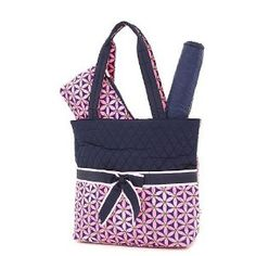 Belvah Quilted Floral 3pc Diaper Bag (Navy/Pink) (Baby Product)  http://howtogetfaster.co.uk/jenks.php?p=B0060L3W3A  B0060L3W3A