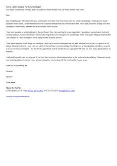 Esthetician Cover Letter - http://www.resumecareer.info ...
