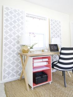 beautiful home office - LOVE the patterned panels. Could do some with foam board, fabric and stencil made with Cricut