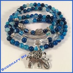 Blue Agate and Clear Quartz beads with Tibetan Silver Elephant and Beads  Bracelet/Necklace by BuddhafyMe inspirational jewelry.