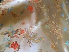 "Chinese oriental brocade satin dragon GOLD | 40"" wide | dressmaking | eBay"