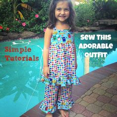 Adorable outfit made from 2 simple tutorials. A ruffled dress and basic pants (with ruffles added on).