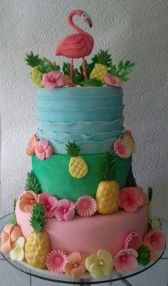 CAKE BY GRAÇA MÜLLER Luau Birthday Cakes, Hawaiian Birthday, Flamingo Cake, Flamingo Birthday, Cupcakes, Cupcake Cakes, Hawaii Cake, Cake Works, Fantasy Cake
