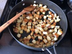 """Great recipe for Home Fries. Our go to recipe for breakfast potatoes growing up, and now my daughter is in love with """"crispy potatoes"""" Diced Potatoes, Crispy Potatoes, Home Fries, Stuffed Mushrooms, Stuffed Peppers, Fries Recipe, Breakfast Potatoes, Great Recipes, Breakfast Recipes"""