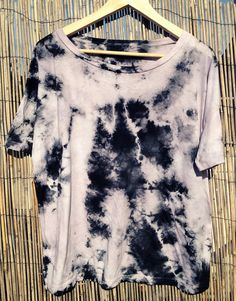 Boho Hippie Top, Tie Dyed (L, Black/White)