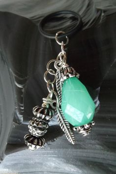 Charm Vape Green Silver Plastic Beads Pewter Feathers by MixieCat, $6.00