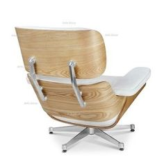 Ashwood Lounge Chair and Ottoman White Leather – Eames Style