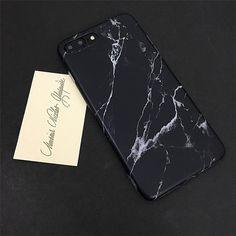 Matte Surface Black White Pattern Marble Granite Design Soft Tpu Case for iPhone 7 7plus 6 6s plus