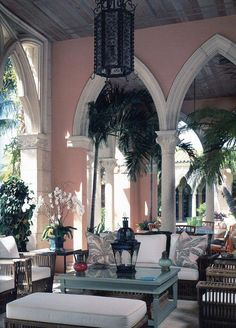 If you have never driven through Palm Beach, you are missing some of the country's most beautiful examples of architecture.the Spanish-Mediterranean homes with Moorish details are our favorites. Palm Beach Florida, West Palm Beach, Outdoor Rooms, Outdoor Living, Porches, Interior Desing, Mediterranean Home Decor, Palm Beach Gardens, Cabana