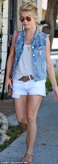 Julianne Hough: Denim Vest + White Shorts