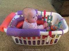 Pool Noodle Laundry Basket Baby Seat - This would be nice for the bath with just thr noodles