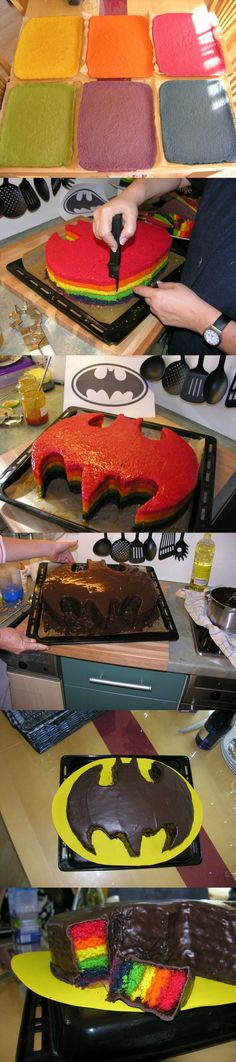 Awesome Batcake!!  I know just who to make this for...only with yellow cake. I am not ambitious enough to try the rainbow layers~
