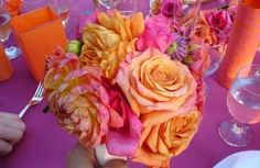 Wedding, Flowers, Pink, Centerpiece, Orange
