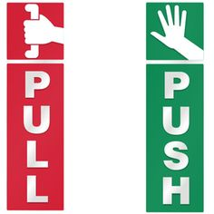 Push and Pull Door Window 2 Option Vinyl Decal Information Warning Note Sticker