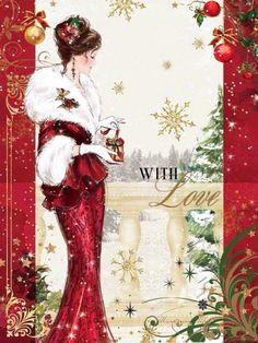 Christmas Scenes, Noel Christmas, Victorian Christmas, Christmas Fashion, Vintage Christmas Cards, Christmas Wishes, Christmas Pictures, Xmas Cards, Christmas Greetings