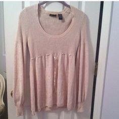 Blush Sweater Pink sweater with ribbon detail below bust that can be pulled tighter or worn loose. Very warm and cozy. Victoria's Secret Sweaters Crew & Scoop Necks