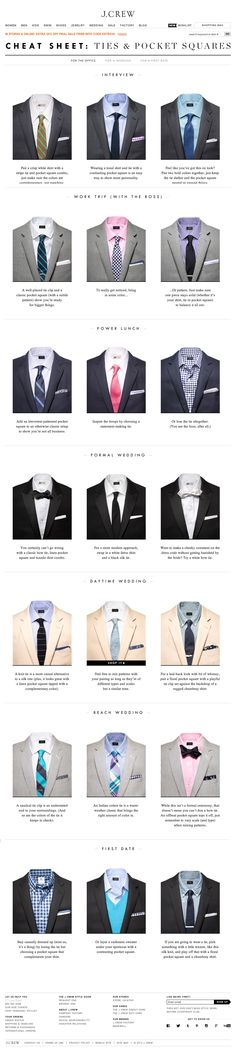 Mens fashion dress shirts Tie & Pocket Square Cheat Sheet // lifted from website Gq Style, Men Style Tips, Mode Style, Sharp Dressed Man, Well Dressed Men, Suit Fashion, Mens Fashion, Fashion Tips, Fasion