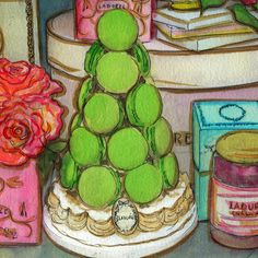 Original Watercolour Painting Print - Ladurée Window Shopping