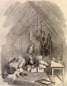 19th century illustration of a  British Army Officers tent. Note wooden floor boards inside the tent.