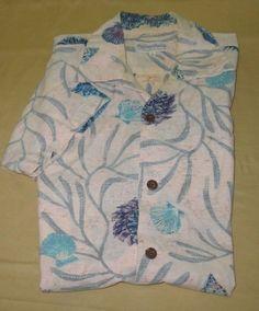 Men's Vntg 70s Duke Kahanamoku Hawaiian Camp   Shirt -  Sz L - Beige W/ Shells #DukeKahanamoku #Hawaiian