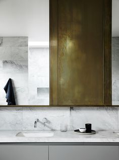 Brass & Marble Bathroom / Australian architect and interior designer Fiona Lynch / ph: Sharyn Cairns Minimalist Bathroom, Modern Bathroom, Small Bathroom, Bathroom Bath, Bathroom Fixtures, Bath Room, Office Bathroom, Master Bathroom, Brass Bathroom